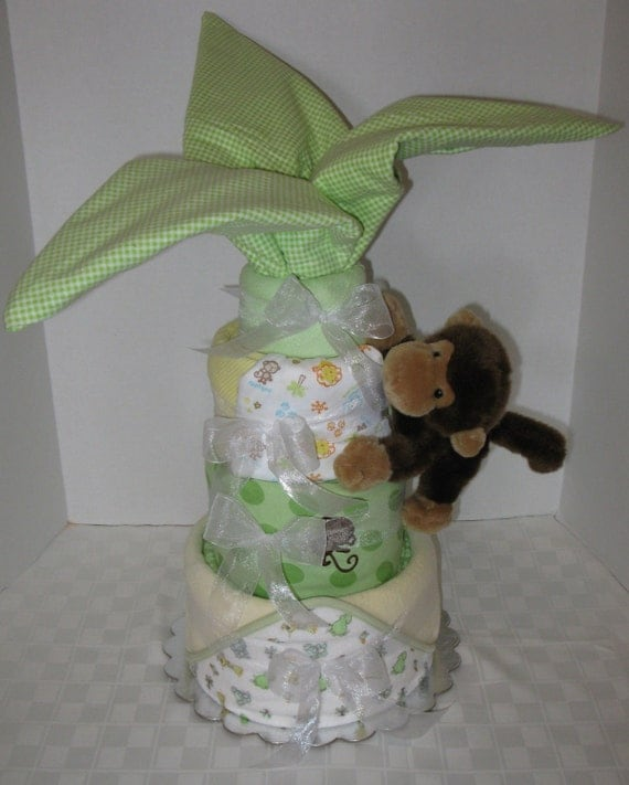 Palm Tree Diaper Cake, Jungle, Safari, Monkey, Baby Cake, Shower Gift for Boy or Girl, Blankets, Centerpiece