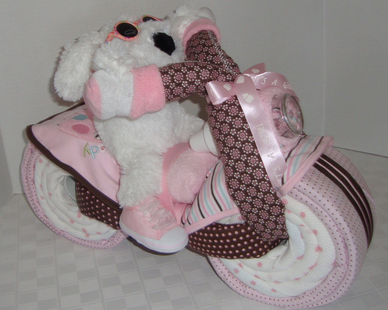 motorcycle bike diaper cake baby shower gift centerpiece