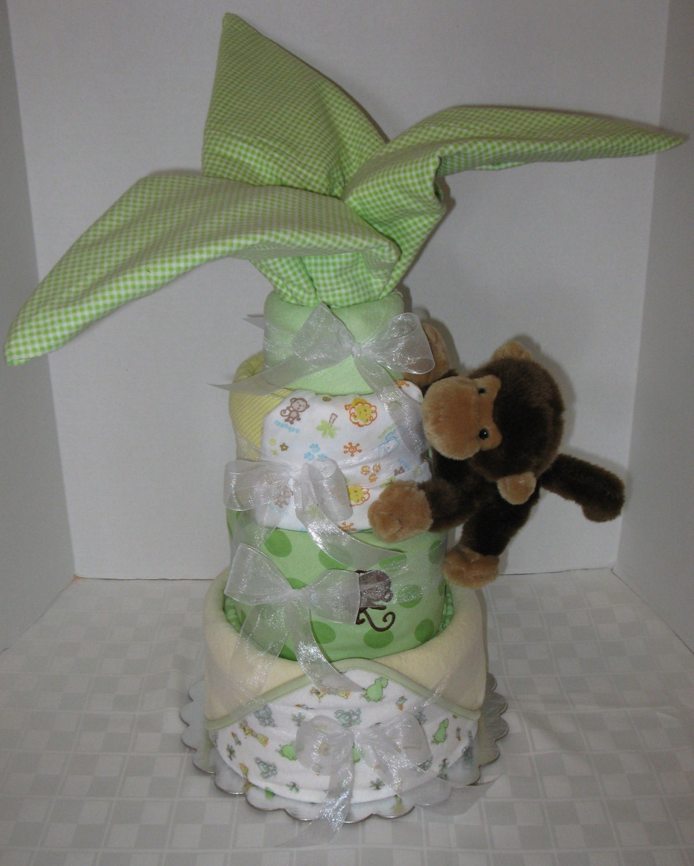 Palm Tree Diaper Cake Jungle Safari Monkey Baby Cake