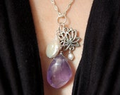 Lotus Amethyst Pearl Necklace