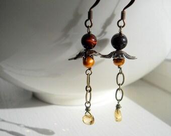 Citrine Teardrop Dangle Earrings - A Rich & Delicate Nature Handmade by FashionPuss CLEARANCE