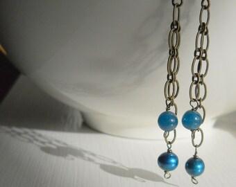Serene Handmade Pearl Dangle Earrings - True Blue Friendship - Simple Beauty