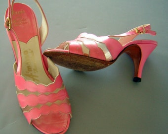 Vintage 60s Pink Heels Clear Vamp - Hand Made A'mano US 5.5 Womens