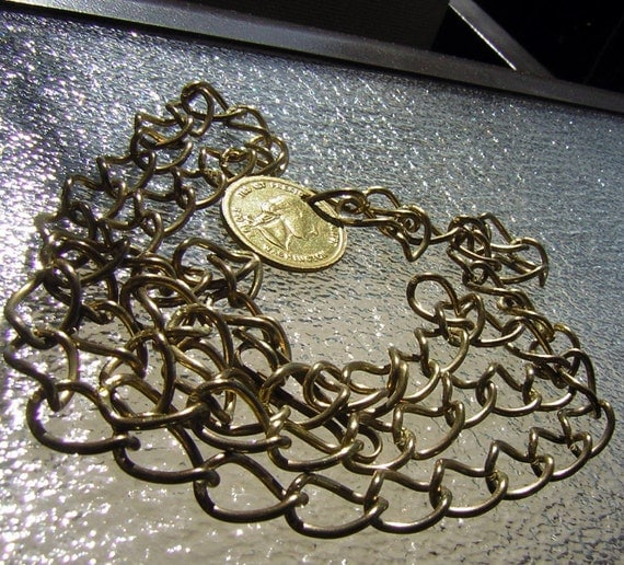 Groovy Vintage Chain Belt Metal Coin Bauble - Adjustable size