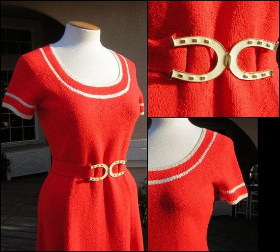 Vintage Deep ORANGE St. John Knits Day Dress with Fancy Belt - Santana Knit MINT condition - S to M