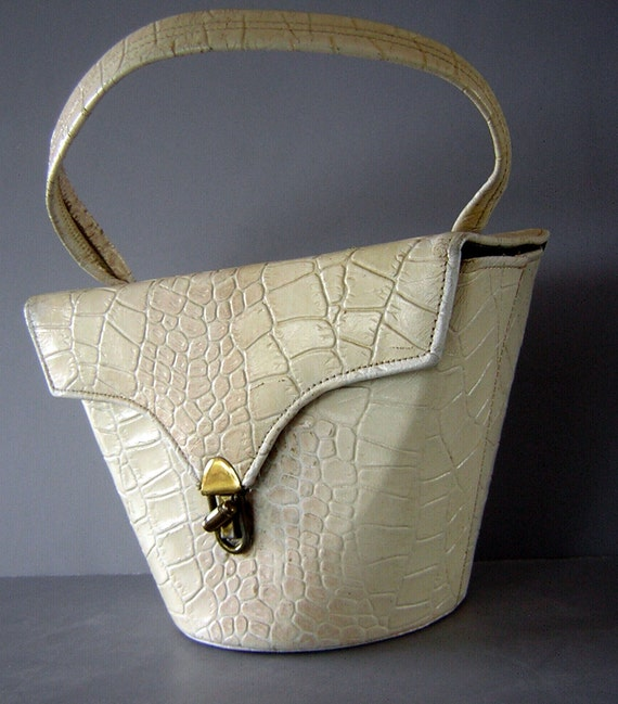 RESERVED for Kitten vonMew Vintage 50s Stamped Leather Faux Croc Little Bucket Shaped Purse - I'm Shabby and I Need TLC - Destash