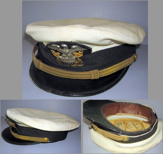 RESERVED for tlmbaran  Vintage 40s 50s Navy Military Officer Wheel Hat - The Commodore - Ratner Hat Co
