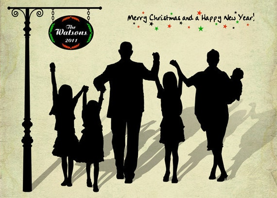 Personalized Christmas Card - Printable PDF -Custom Silhouette 5x7 or 4x6. Digital Holiday Card for your Family