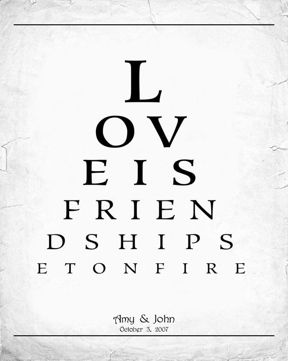 Personalized Valentine Card-For Him-Printable JPEG-Eye Chart-Last Minute Gift-Customized with your Names and Wedding Date-Vintage Style