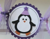 Purple Penguin Happy Birthday Party Banner