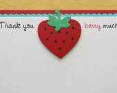 Strawberry Thank You Card ~ Red & Pool Blue
