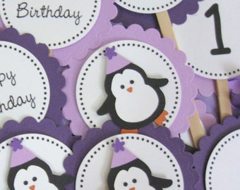 purple PENGUIN birthday cupcake toppers