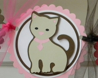 """Handmade Pink and Brown Kitten """"Happy Birthday"""" Party Banner"""
