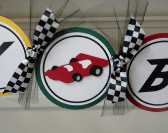 Race Car Checkered Flag Happy Birthday Party Banner