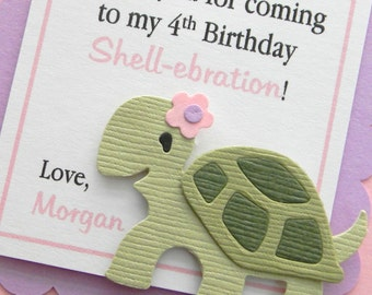 handmade TURTLE birthday favor tags