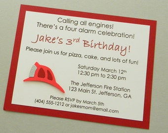 Fire Helmet Birthday Party Invitation