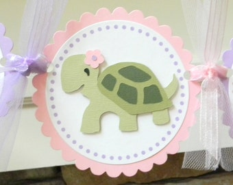 Girl Turtle Happy Birthday Party Banner ~ Pink and Purple