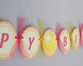 Rubber Duck Happy Birthday Party Banner ~ Pink