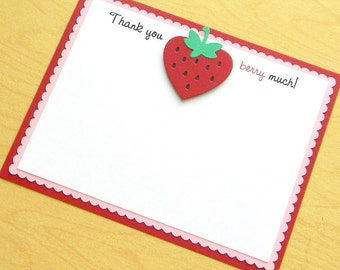 handmade red and pink STRAWBERRY thank you note card