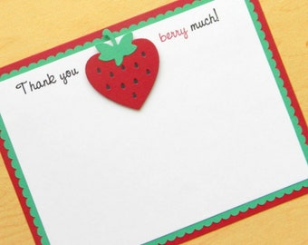 handmade red and green STRAWBERRY thank you note card