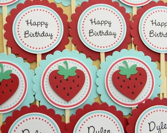 Strawberry Happy Birthday Party Cupcake Toppers ~ Red & Pool Blue