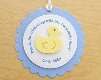 Blue Rubber Duck Party Favor Tags