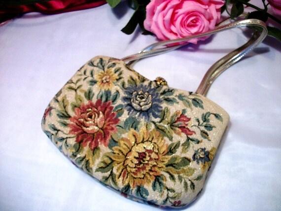 Tapestry vintage handbag by Delill