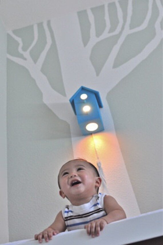 Jasper in Ba Ba Blue Modern Birdhouse Wall Lamp for Nursery SALE