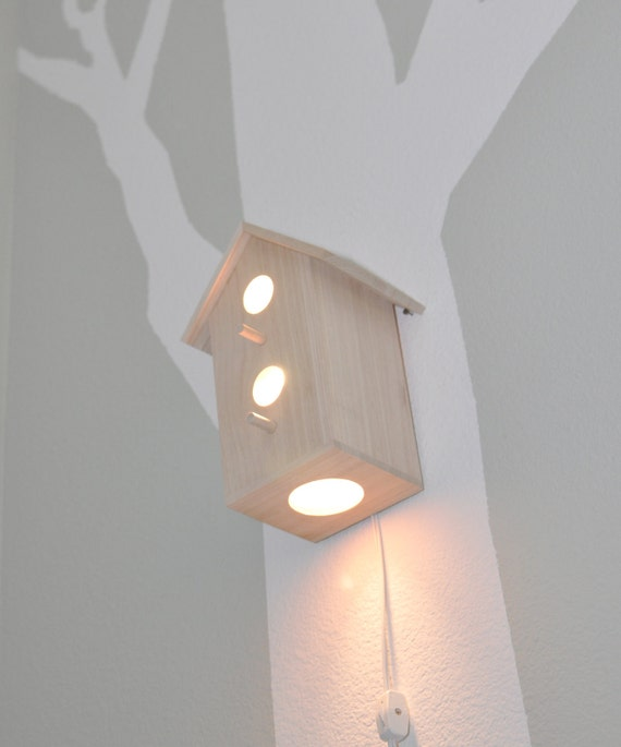 Modern Treetop Baby Birdhouse Lamp Jasper Natural Design