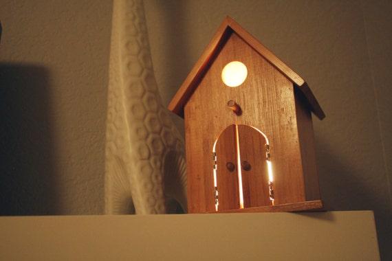 SALE Peek-a-Boo Modern Birdhouse Lamp for Baby Nursery Wall Hanging Night Light