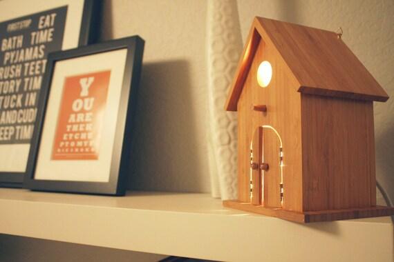 Reserved for josumoto Modern Treetop Baby Birdhouse Lamp - Peek-a-Boo in Bamboo