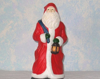 Plaster Father Christmas, Handpainted, Santa with Toy Bag