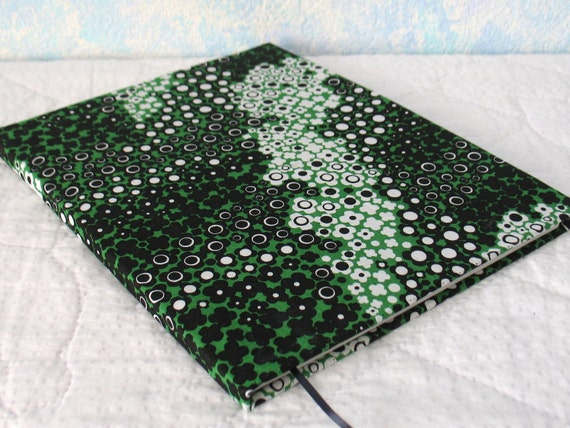 Handbound hardcover journal, upcycled, green, black, white frogs 80 sheet, college rule