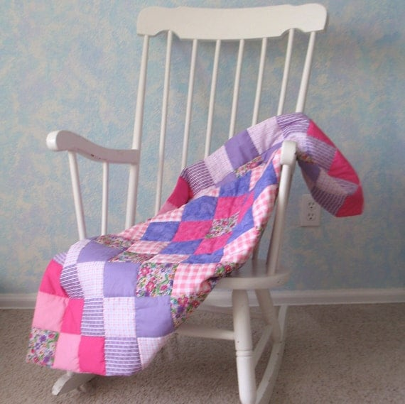 Hand-quilted Baby Quilt, floral, pink, purple, white