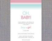 Ombre Stripes Gender Reveal Invite
