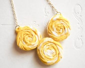 Sunny Yellow Rosette Necklace