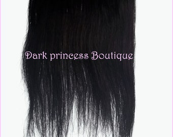 Clip in human hair extensions, 14 inches long, black, shade 1.