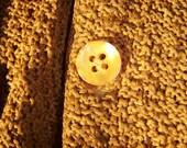 Mens Medium Boucle Yarn Knitted Rust Orange Cardigan Sweater