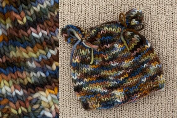 sale - NEWBORN Little BEAR hat - photography prop - brown, old gold, navy, khaki
