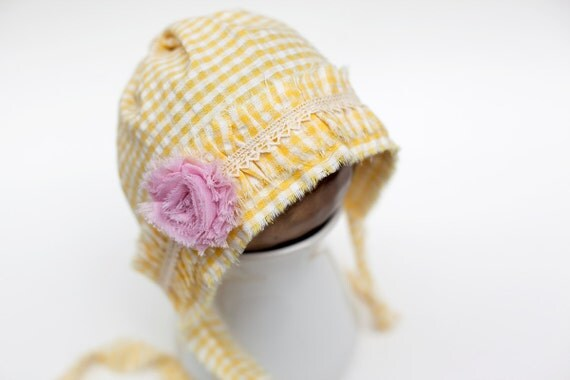 NEW - newborn fabric BONNET  - photography prop - white, yellow, cream, pink