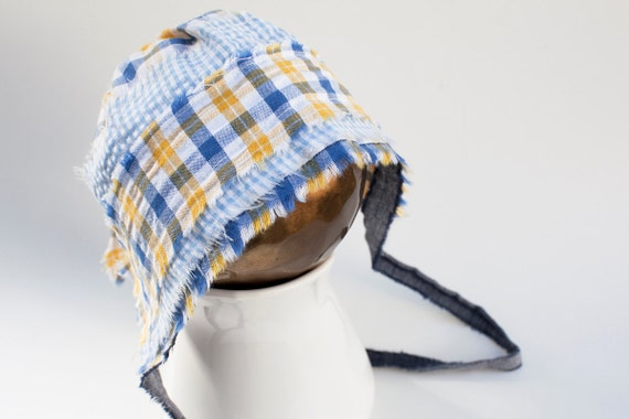 NEW - newborn BOY fabric BONNET  - photography prop - yellow, blue, navy, denim