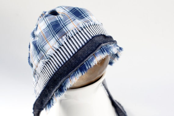 NEW - newborn BOY fabric BONNET  - photography prop - blue, cream, orange, navy, denim