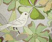 SALE-Linen Blend- Jenaveve Floral Birds in Sage from Valori Wells-LAST Half Yard