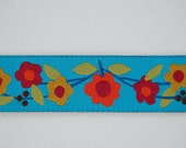 SALE-Sue Spargo Ribbon - Floral Vine on Turquoise - ONE YARD