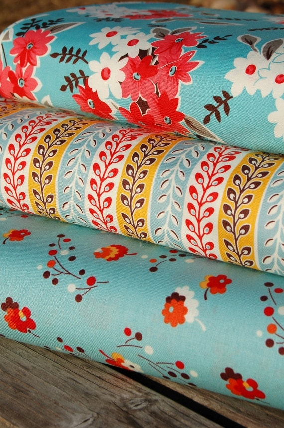 Half Yard Bundle in Turquoise-Flea Market Fancy Legacy Collection by Denyse Schmidt for FreeSpirit