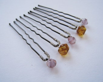 Beaded Hair Pins - Set of 5 Pink and Orange Crystal - ADELLE