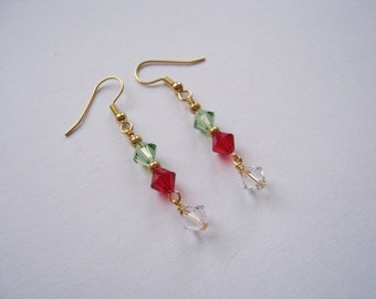 BARGAIN BIN - Swarovski Peridot Light Siam and Crystal Double Dangle Earrings