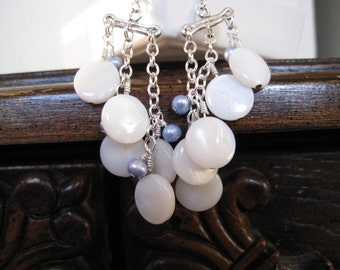 Shell and Freshwater Pearl Sterling Silver Earrings - White and Blue Modern Chandelier Style - SKYLAR