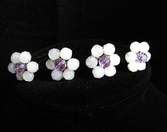 Beaded Crystal Hair Pins - Set of 4 with flower design - FLEUR