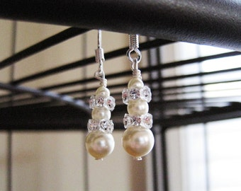 Sterling Silver Pearl Earrings - Swarovski Pearl and Crystal Rondelle - ADDISON